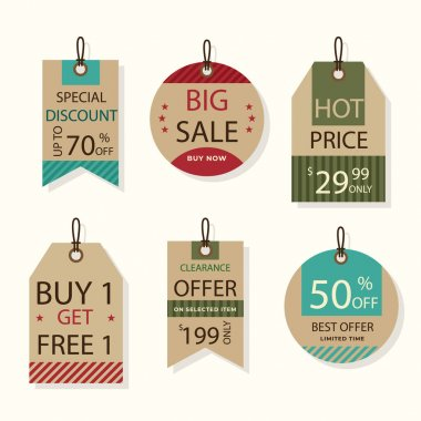 Vintage sale tags pack Vector illustration icon