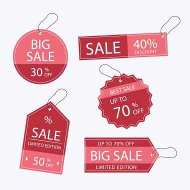 Flat design sale tags set Vector illustration icon