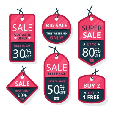 Flat design sale tags Vector illustration icon