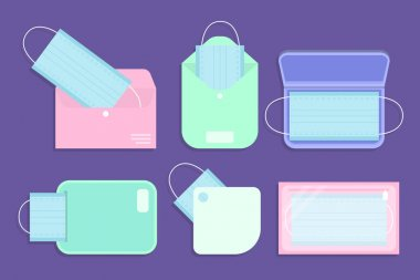 Face mask storage case pack Vector illustration icon