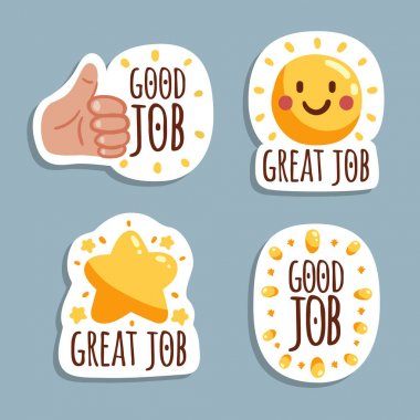 Great job stickers pack Vector illustration icon