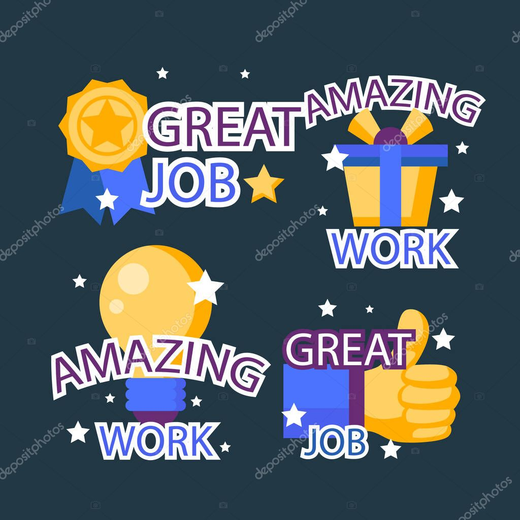 Flat good job and great job stickers pack Vector illustration icon