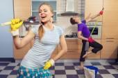 Photo Funny couple on kitchen