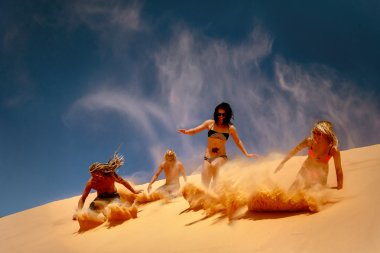 Friends slide down the yellow sand dune.