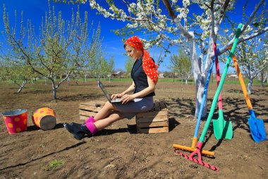 woman using laptop in garden