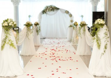 Wedding road with rose petal