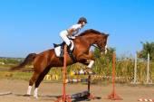 Fotografie weibliche Jockey mit reinrassigen Pferd