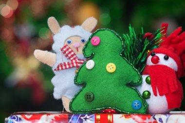Toys near Christmas tree