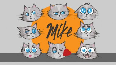 Kitten mike emotion 8-pack icon