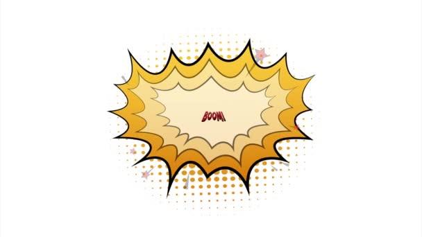 Komische Sprechblasen mit Textboom. Vintage Cartoon Illustration. Symbol, Aufkleber, Sonderangebotsetikett, Werbeplakette. Aktienillustration.