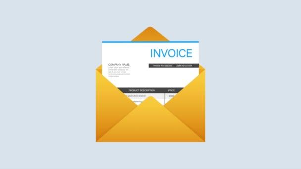 Számlázás ikon, e-mail üzenet kapott számla dokumentum, lapos stílusú nyitott boríték számla papír üres.