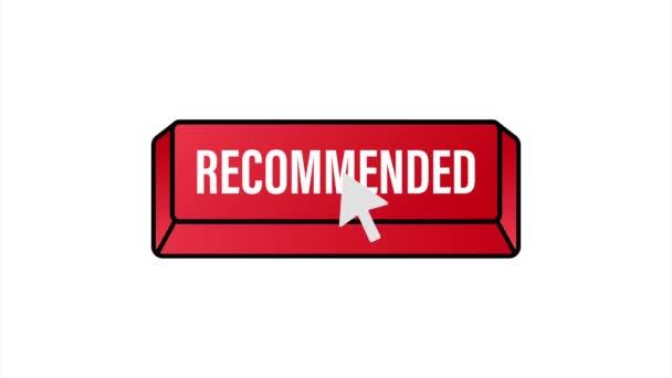 Doporučit tlačítko. Bílý štítek doporučeno na červeném pozadí. stock ilustrace.