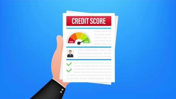 Credit Score Dokument. Papierblatt-Diagramm mit persönlichen Kreditinformationen. Aktienillustration.