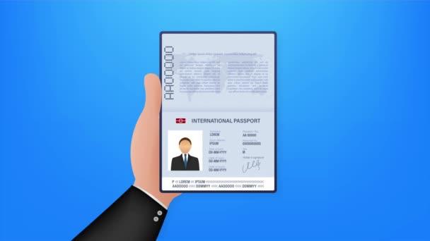 Üres nyitott útlevél sablon. Nemzetközi útlevél a személyes adatok mintájával. készlet illusztráció.