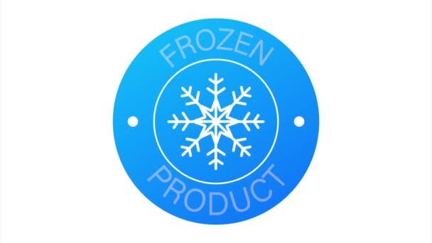 Blau gefrorenes Produkt auf weißem Hintergrund. Food-Logo. Aktienillustration.