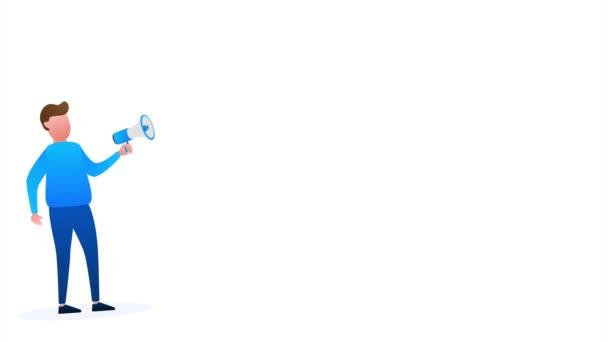 Ruční držení Megaphone s trivia noc. Megafonový prapor. Webdesign. stock ilustrace.