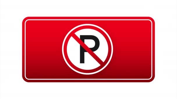 Žádné parkování na červeném pozadí. Symbol nebezpečí. Varovné znamení. Stopka. stock ilustrace.
