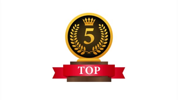 Top 5 label. Golden laurel wreath icon. stock illustration.