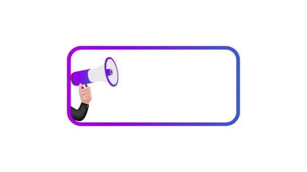 Megafon címke kvízesttel. Megafon zászló. Web design. Mozgókép.
