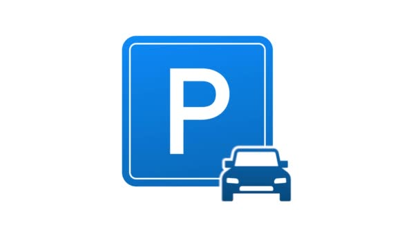 Template with blue parking. Logo, icon, label. Parking on white background. Web element. Live Webinar Button, icon, emblem, label. Motion graphics.