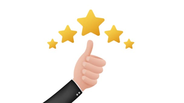 Thumbs up. Customer evaluation. Customer review rating. Stock illustration. Motion graphics.
