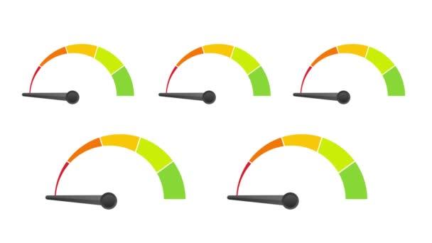Vásárlói elégedettség mérő értékelése. Különböző érzelmek művészet design pirostól zöldig. Absztrakt fogalom grafikai eleme tachométer, sebességmérő, mutatók, pontszám. Mozgókép.