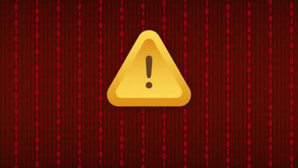 Banner s červeným podfukem. Pozor, značka. Ikona kybernetické bezpečnosti. Varovný štítek s varovným signálem. Výstražný symbol. Návrh pohybu.
