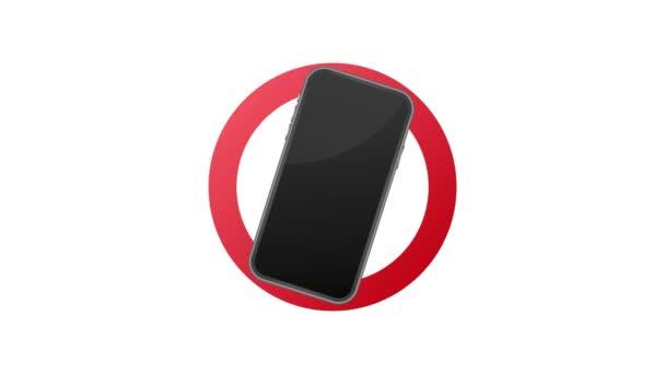 Symbol, das die Benutzung von Mobiltelefonen oder Smartphones verbietet. Bewegungsgrafik.