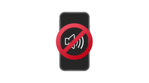 No sound phone. Telephone call. Cell phone icon. Device icon. Motion graphics.