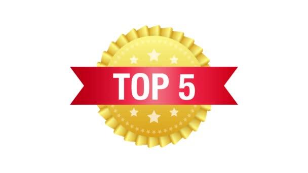 Top 5 label. Golden laurel wreath icon. Motion graphics.