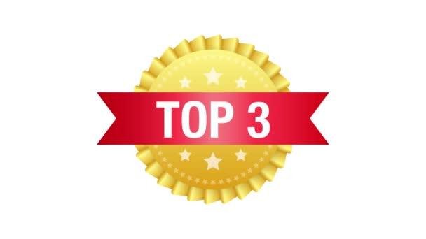 Top 3 címke. Arany babérkoszorú ikon. Mozgókép.