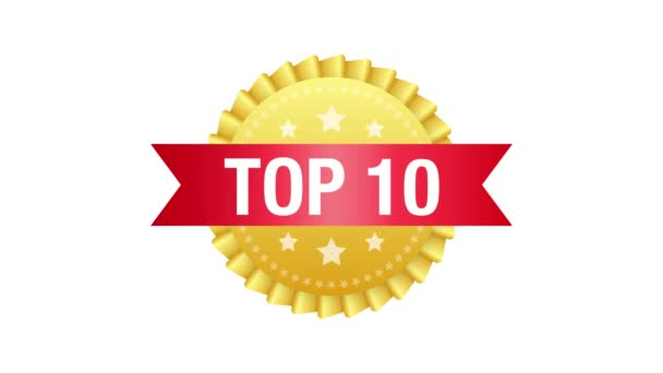Top 10 label. Golden laurel wreath icon. Motion graphics.