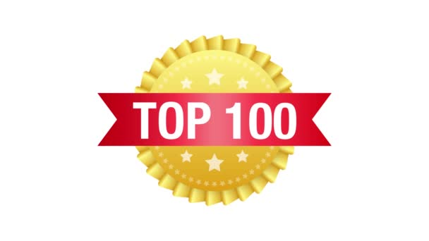Top 100 label. Golden laurel wreath icon. Motion graphics.