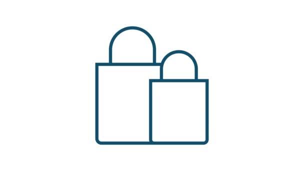 Bevásárlókészlet ikon web design. E-kereskedelem. Kedvezményes kupon. Üzleti ikon. Árcédula. Sorakozó! Mozgókép.