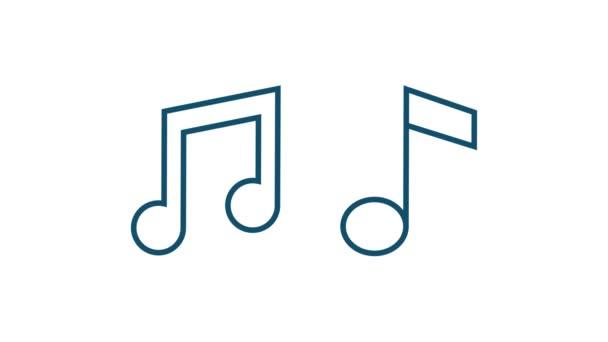 Zenei ikon lapos stílusban. Zene, hang, felvétel ikon. Mozgókép.
