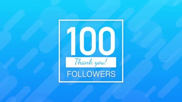 100 Follower, Danke, posten soziale Seiten. Danke Follower Gratulationskarte. Bewegungsgrafik.