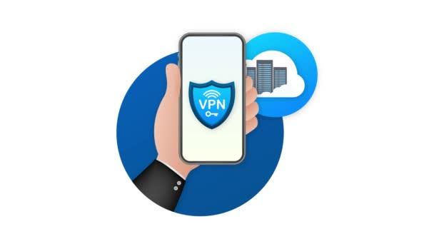 Sicheres VPN-Verbindungskonzept. Überblick über die Konnektivität privater virtueller Netzwerke. Bewegungsgrafik.