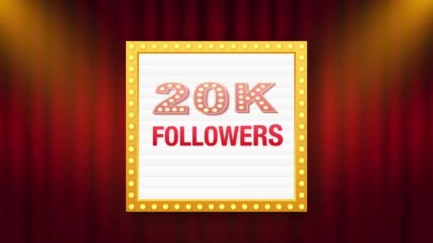 20k Anhänger, Danke, posten soziale Seiten. Danke Follower Gratulationskarte. Bewegungsgrafik.