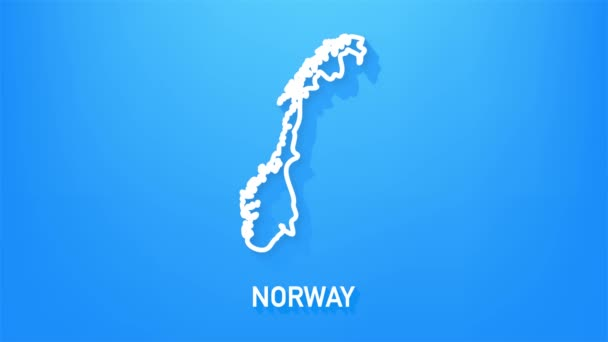 Ikona mapy Norska izolovaná na pozadí. Grafická animace pohybu videa 4K.