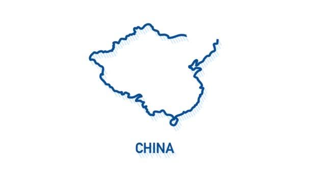 Ikona mapy Číny izolovaná na pozadí. Grafická animace pohybu videa 4K.