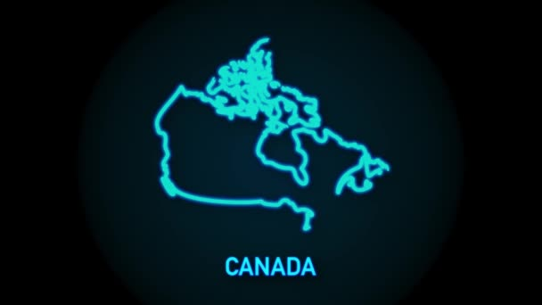 Kanada mapa ikona izolované na pozadí. Grafická animace pohybu videa 4K.