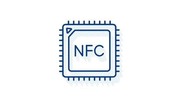 Berührungslose drahtlose Pay-Zeichen-Logo. NFC-Technologie. Bewegungsgrafik.