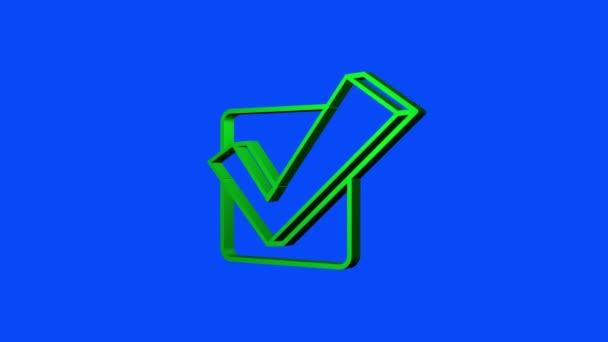Šach-mark. Zelená schválená samolepka. Pohybová grafika.