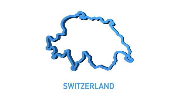 Ikona mapy Švýcarska izolovaná na pozadí. Grafická animace pohybu videa 4K.