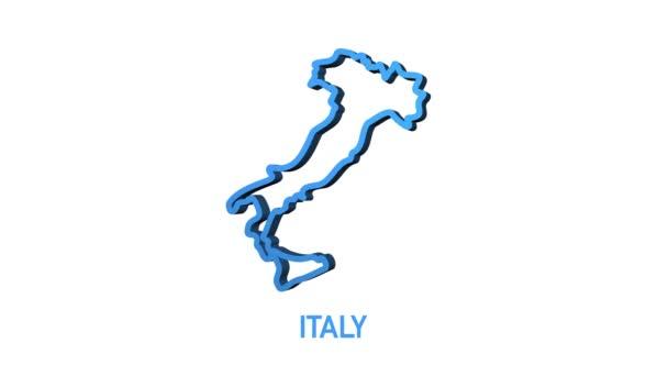 Ikona mapy Itálie izolovaná na pozadí. Grafická animace pohybu videa 4K.