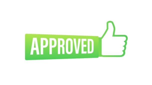 Schválená medaile. Kulaté razítko pro schválené a testované výrobky, software a služby. Pohybová grafika.