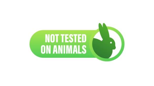 Nicht an Tieren getestet. Grausames rosa Banner. Veganes Emblem. Verpackungsdesign. Naturprodukt. Bewegungsgrafik.