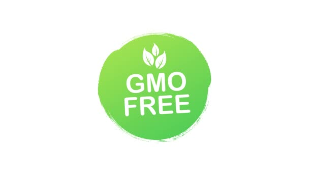 Green colored GMO free emblems, badge, logo, icon. Motion graphics.