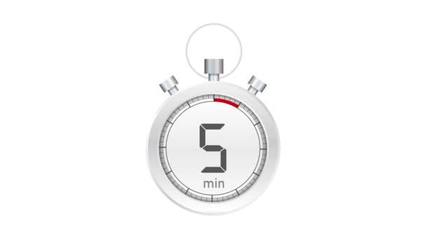 Az 5 perc, stopper ikon. Stopwatch ikon lapos stílusban. Mozgókép.