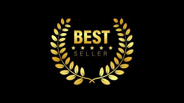 Best Seller Gold sign with laurel. Motion graphics.